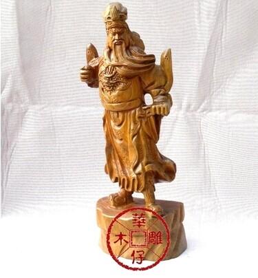 巧艺木雕 - 木雕关公像/神像/绿檀木雕关公佛像/40cm立刀关公